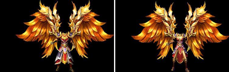 金羽之王战甲传奇衣服素材,男女两款