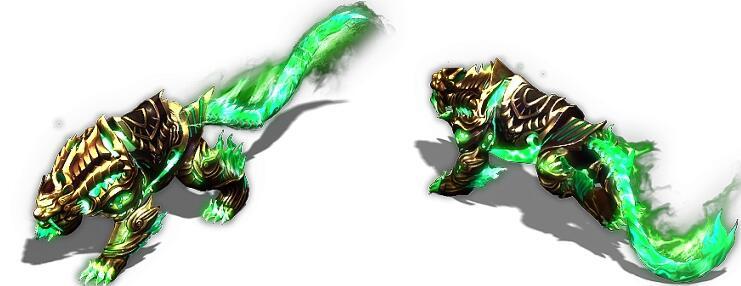 身披黄金铠甲绿焰之虎传奇坐骑素材