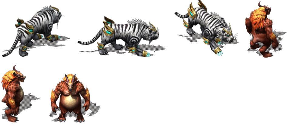 白色东北虎和道士高清神兽传奇怪物素材