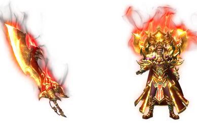 新的赤焰屠龙新刀+赤焰战神甲衣服素材
