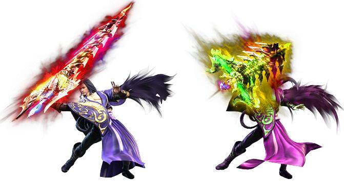 两种颜色的手拿乾坤巨剑的白毛男一体时装